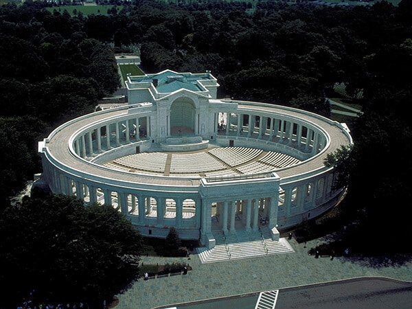 Aerial view looking southeast at Memorial Amphitheater