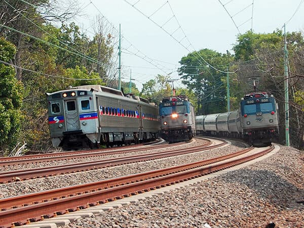 Trains on the Philadelphia to Harrisburg Main Line