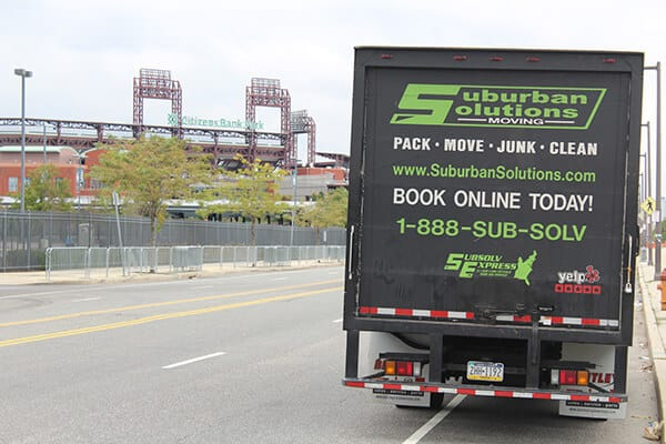 Suburban Solutions' moving truck parked just outside of Citizens Ball Park - a home of Philadelphia Phillies