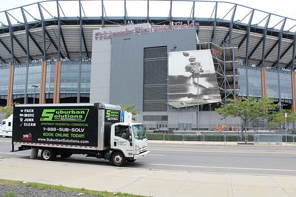 Suburban Solutions' moving truck outside of Lincoln Financial Field - a home of Philadelphia Eagles
