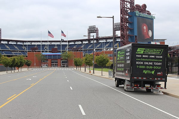 Suburban Solutions' moving truck outside of Citizens Bank Park - a home of Philadelphia Phillies
