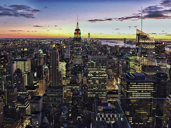 A night view of Manhattan, NY