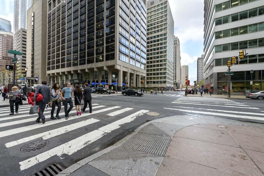 Center City street-level area of downtown Philadelphia