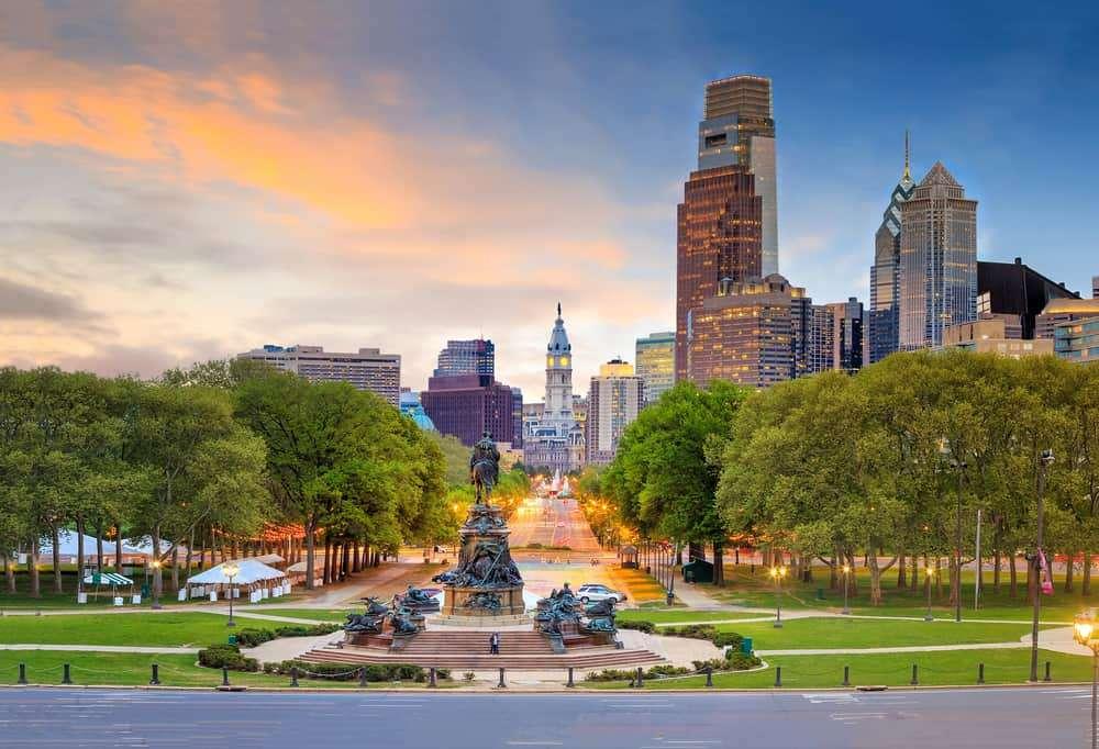 Park in Center City with Philadelphia skyline