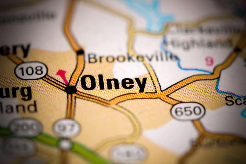 Olney, MD on a map