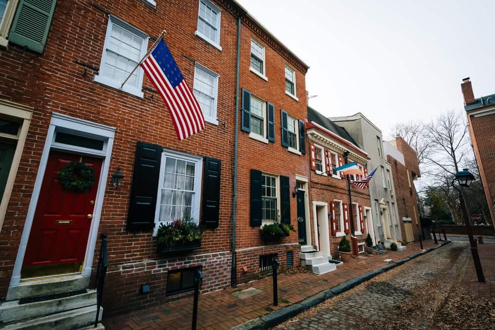 Red brick buildings in a Society Hill neighborhood