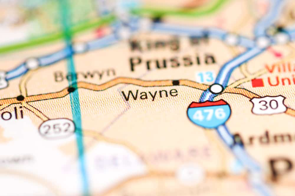 Wayne, PA on a Map