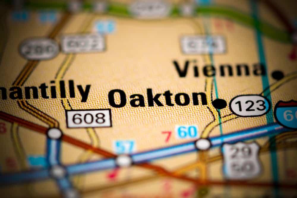 Oakton, VA on a map