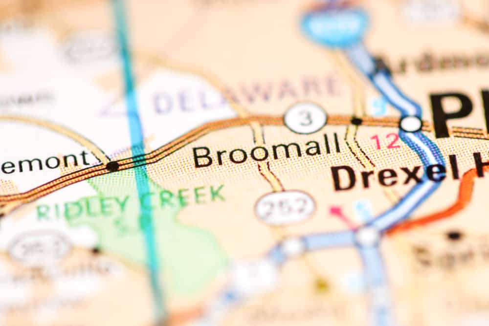 Broomall, PA on a Map