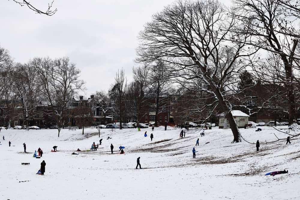 Snowy weather in Philadelphia, PA